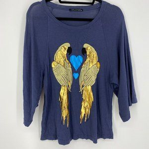 Wildfox Parrot Love Birds 3/4 Sleeve Tee Blue XS